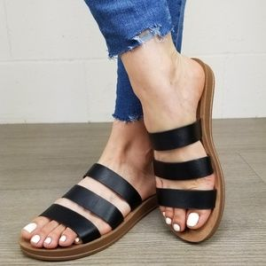 Faux Leather Sandals Flexible Soles for Comfort -G